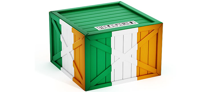 Irish flag textured crate